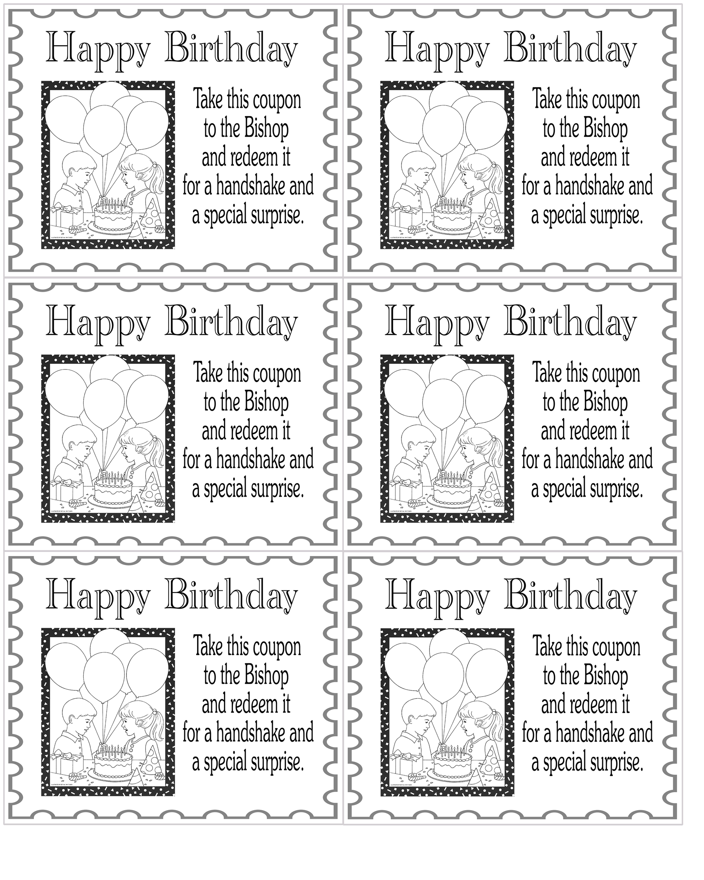 birthday pencils and coupons