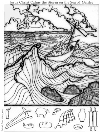 jesus stills the storm coloring page - joseph fielding smith lesson helps for relief society