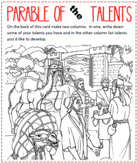 The Talents Colouring Sheets - parables, talents, colouring | 238x200